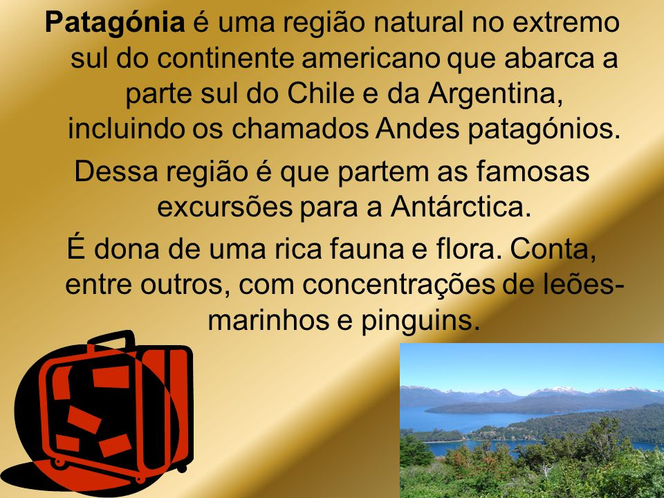 Dessa região é que partem as famosas excursões para a Antárctica.