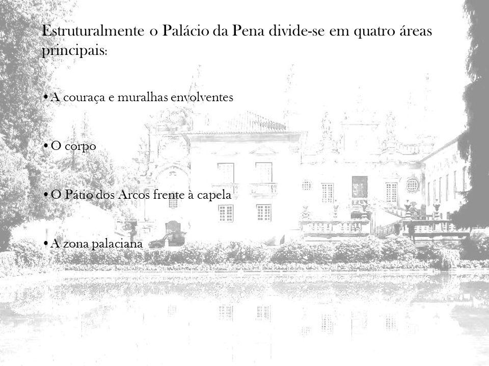 Estruturalmente o Palácio da Pena divide-se em quatro áreas principais: