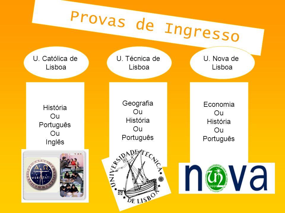 Provas de Ingresso U. Católica de Lisboa U. Técnica de Lisboa