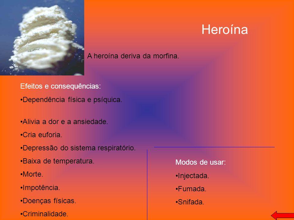 Heroína A heroína deriva da morfina. Efeitos e consequências: