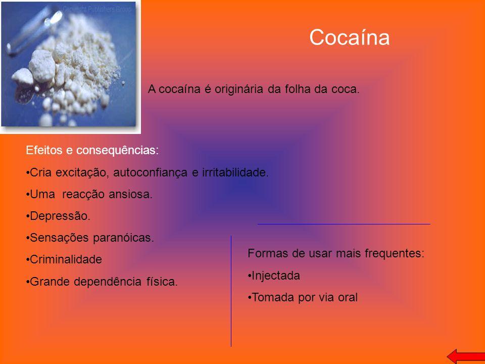 Cocaína A cocaína é originária da folha da coca.