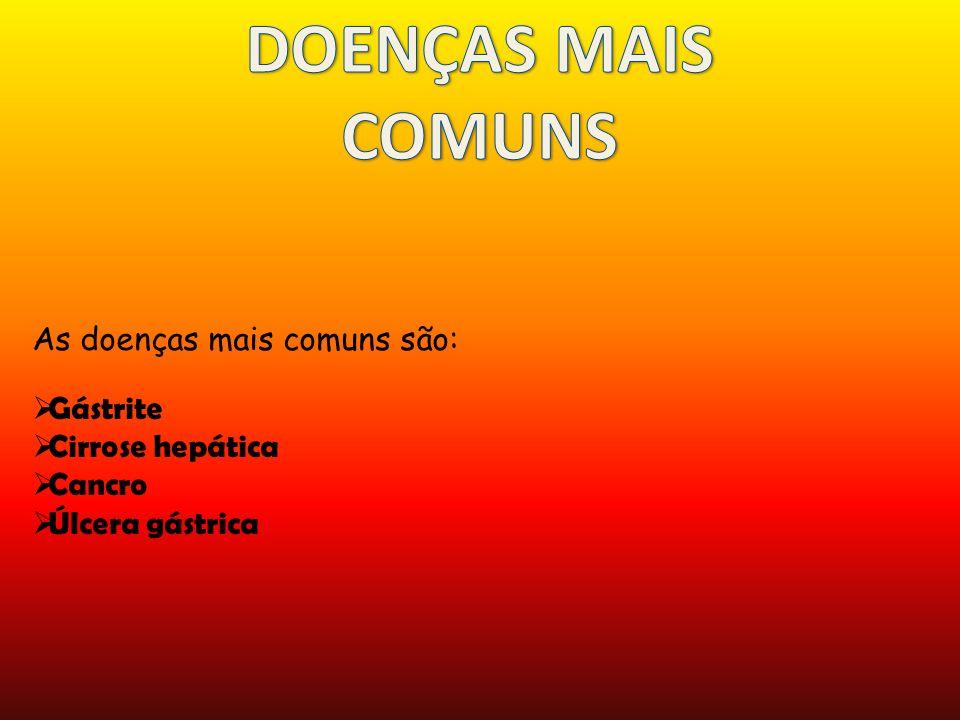 DOENÇAS MAIS COMUNS As doenças mais comuns são: Gástrite