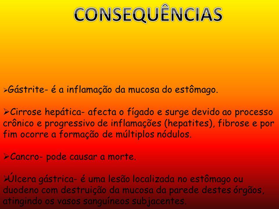 CONSEQUÊNCIAS Gástrite- é a inflamação da mucosa do estômago.
