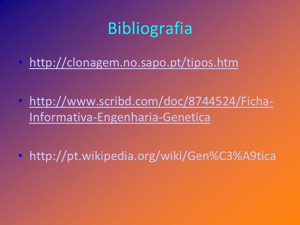 Bibliografia http://clonagem.no.sapo.pt/tipos.htm
