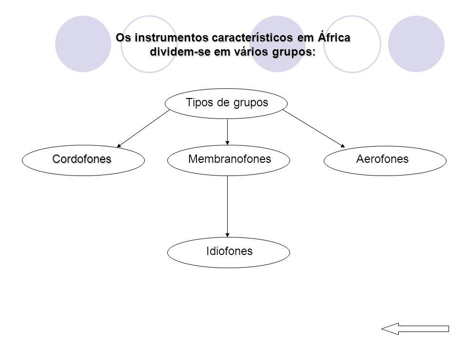 Os instrumentos característicos em África dividem-se em vários grupos: