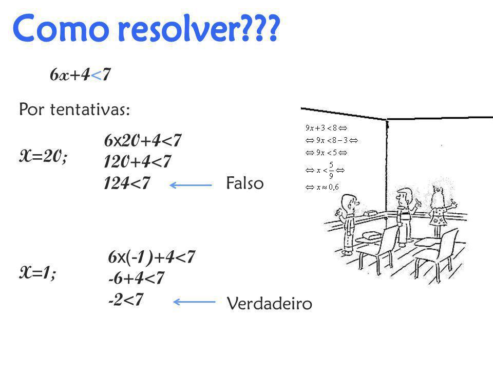Como resolver 6x+4<7 Por tentativas: 6x20+4<7 120+4<7