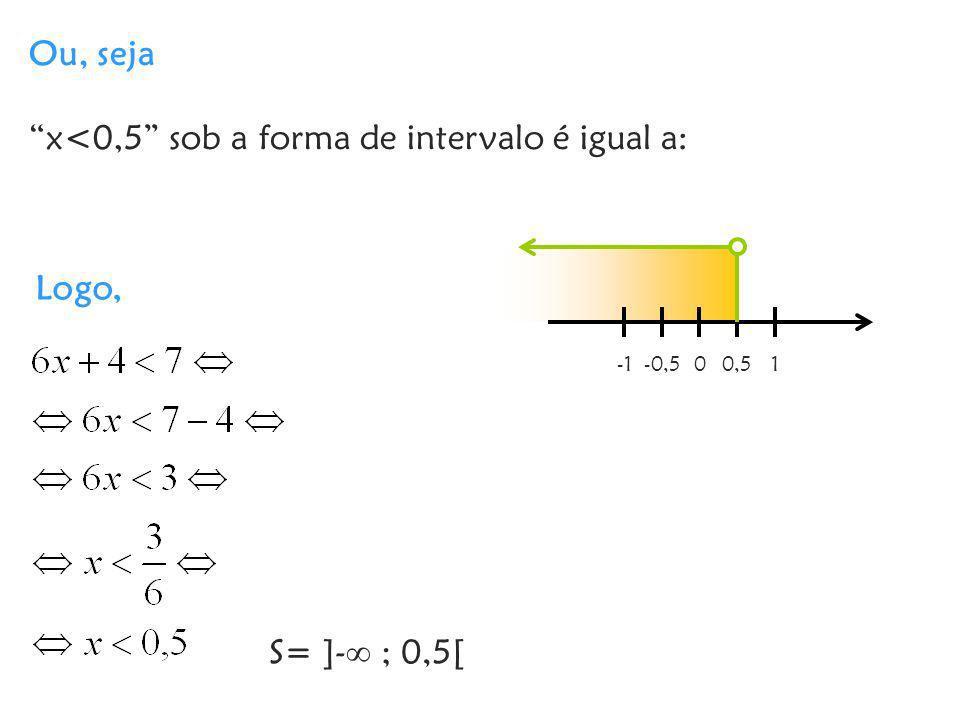 x<0,5 sob a forma de intervalo é igual a: