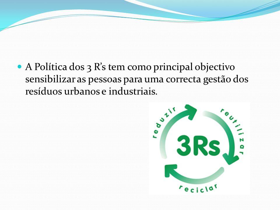 A Política dos 3 R's tem como principal objectivo sensibilizar as pessoas para uma correcta gestão dos resíduos urbanos e industriais.