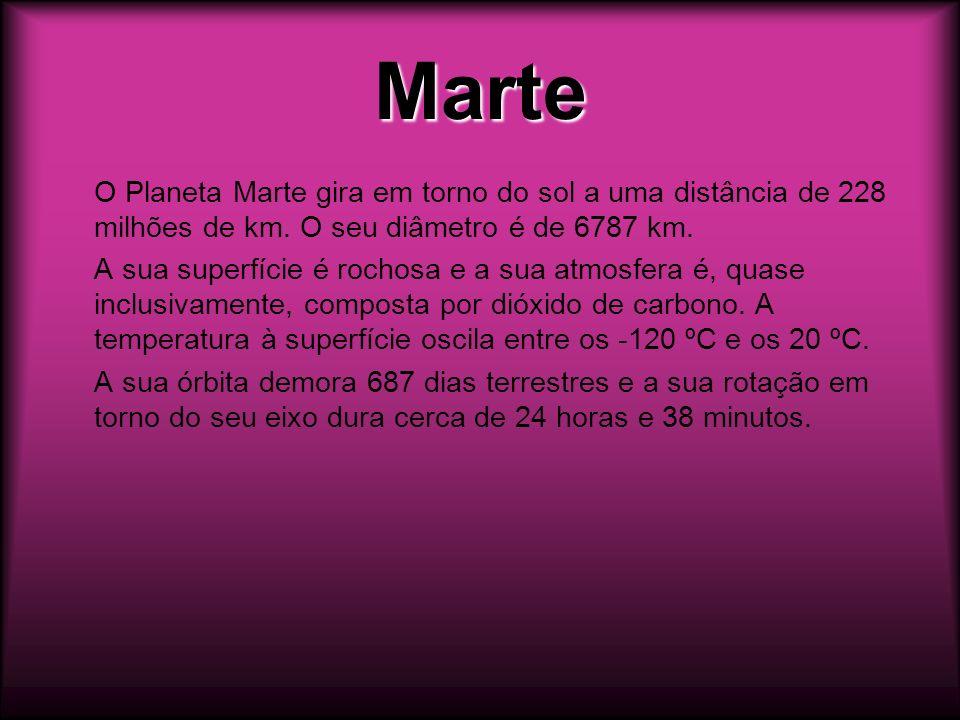 Marte O Planeta Marte gira em torno do sol a uma distância de 228 milhões de km. O seu diâmetro é de 6787 km.