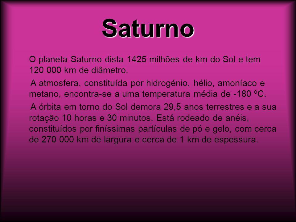 SaturnoO planeta Saturno dista 1425 milhões de km do Sol e tem 120 000 km de diâmetro.