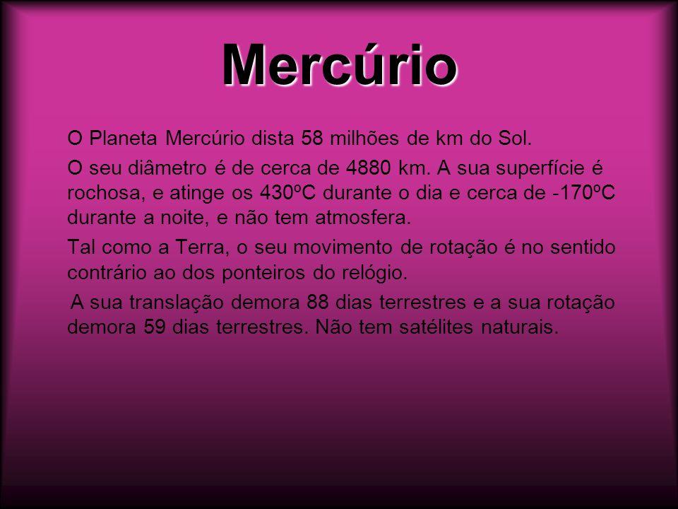 MercúrioO Planeta Mercúrio dista 58 milhões de km do Sol.