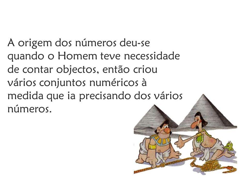 A origem dos números deu-se quando o Homem teve necessidade de contar objectos, então criou vários conjuntos numéricos à medida que ia precisando dos vários números.