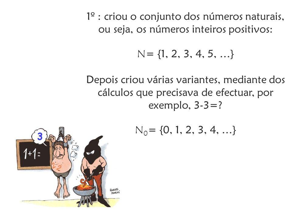1º : criou o conjunto dos números naturais, ou seja, os números inteiros positivos: