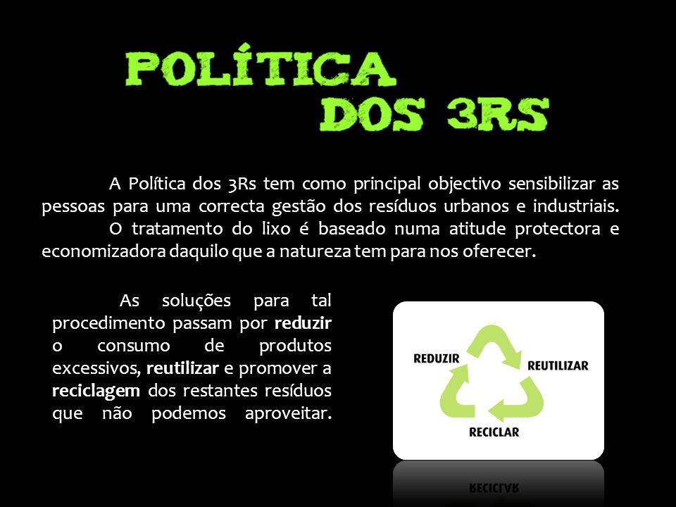 A Política dos 3Rs tem como principal objectivo sensibilizar as pessoas para uma correcta gestão dos resíduos urbanos e industriais. O tratamento do lixo é baseado numa atitude protectora e economizadora daquilo que a natureza tem para nos oferecer.