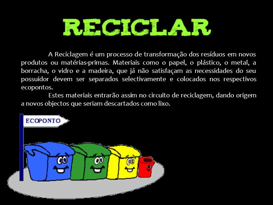A Reciclagem é um processo de transformação dos resíduos em novos produtos ou matérias-primas. Materiais como o papel, o plástico, o metal, a borracha, o vidro e a madeira, que já não satisfaçam as necessidades do seu possuidor devem ser separados selectivamente e colocados nos respectivos ecopontos.