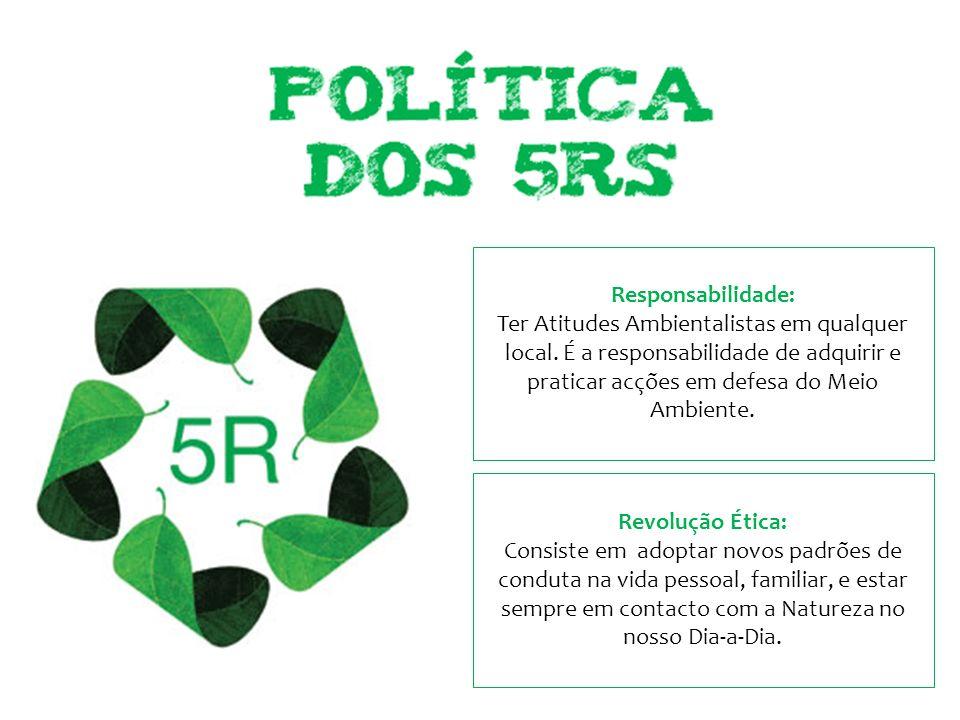 Responsabilidade: Ter Atitudes Ambientalistas em qualquer local. É a responsabilidade de adquirir e praticar acções em defesa do Meio Ambiente.