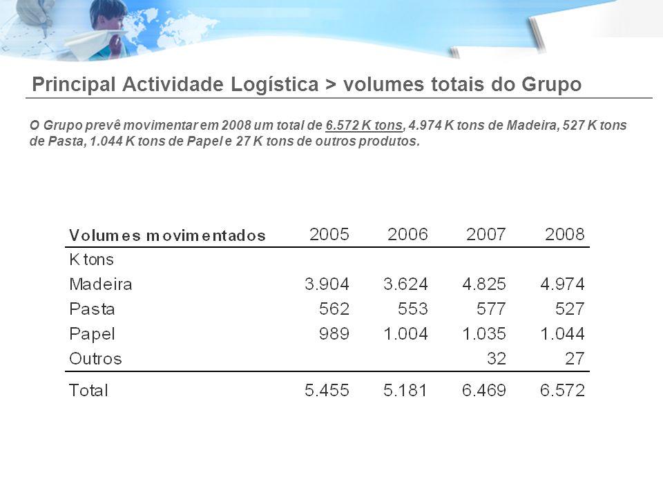 Principal Actividade Logística > volumes totais do Grupo