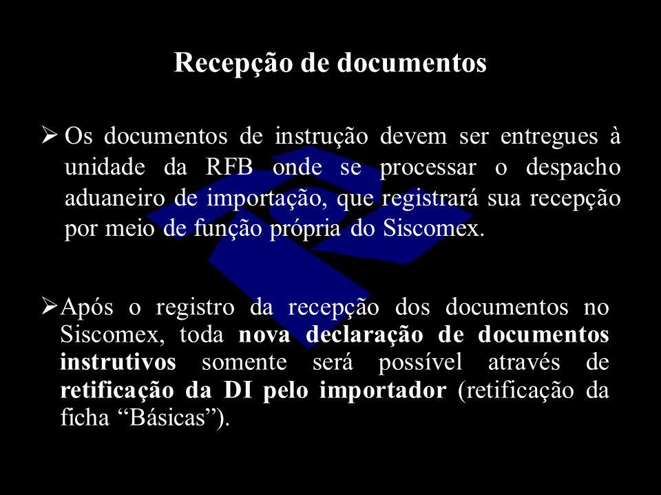 Recepção de documentos