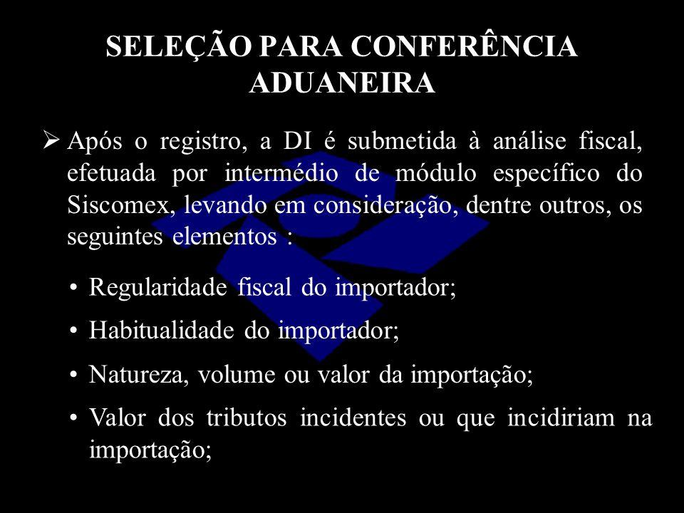 SELEÇÃO PARA CONFERÊNCIA ADUANEIRA