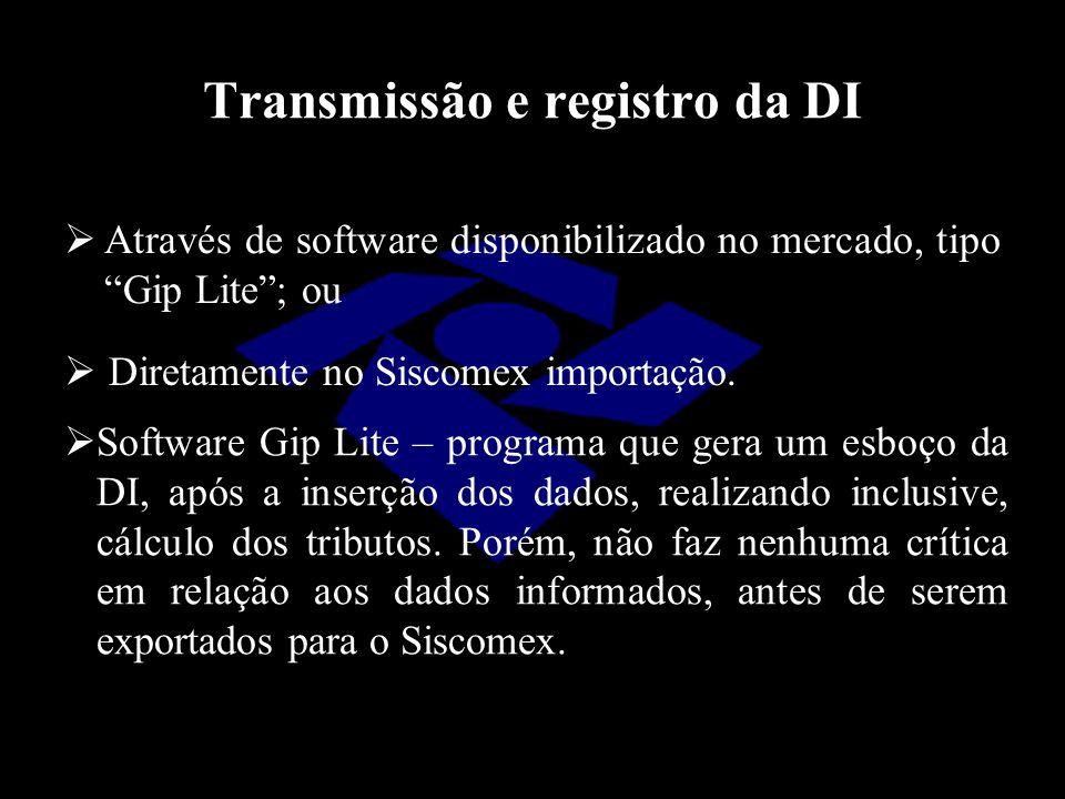 Transmissão e registro da DI