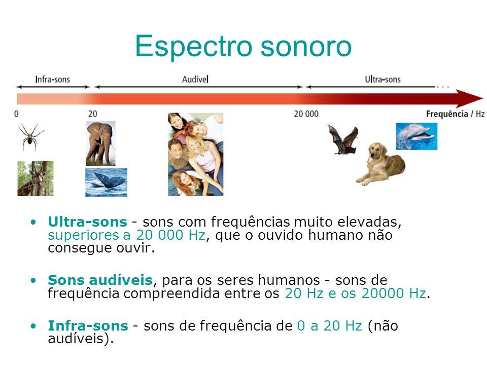 Espectro sonoro Ultra-sons - sons com frequências muito elevadas, superiores a 20 000 Hz, que o ouvido humano não consegue ouvir.
