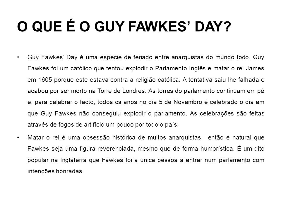 O QUE É O GUY FAWKES' DAY