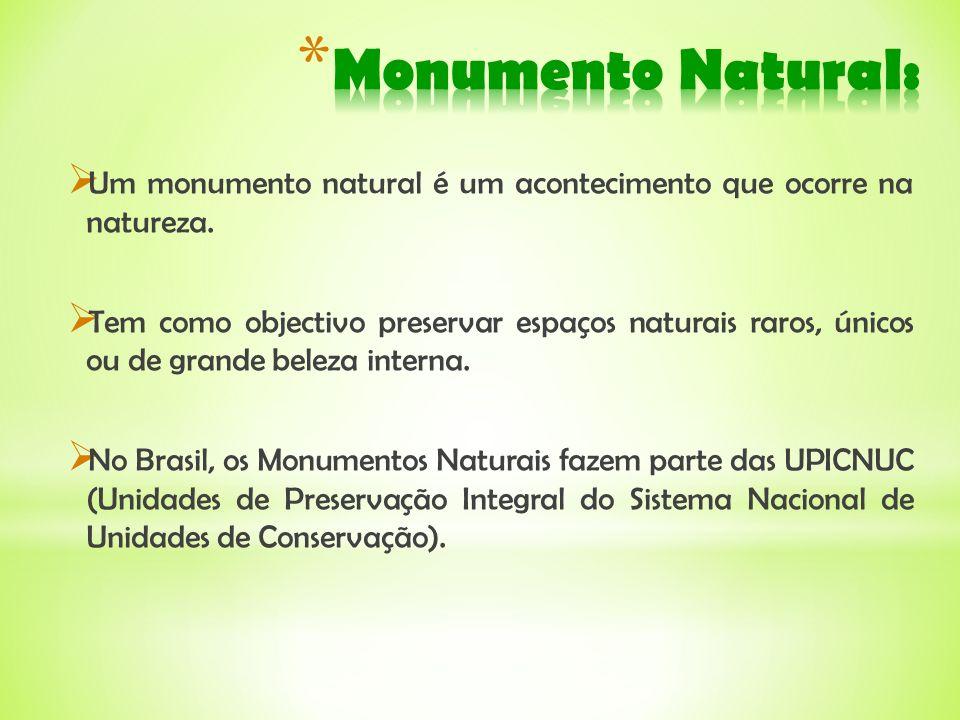 Monumento Natural:Um monumento natural é um acontecimento que ocorre na natureza.
