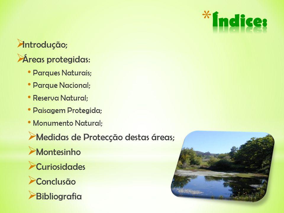 Índice: Introdução; Áreas protegidas: