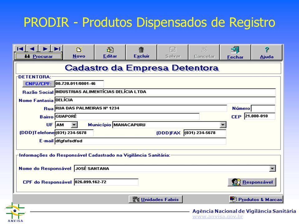 PRODIR - Produtos Dispensados de Registro