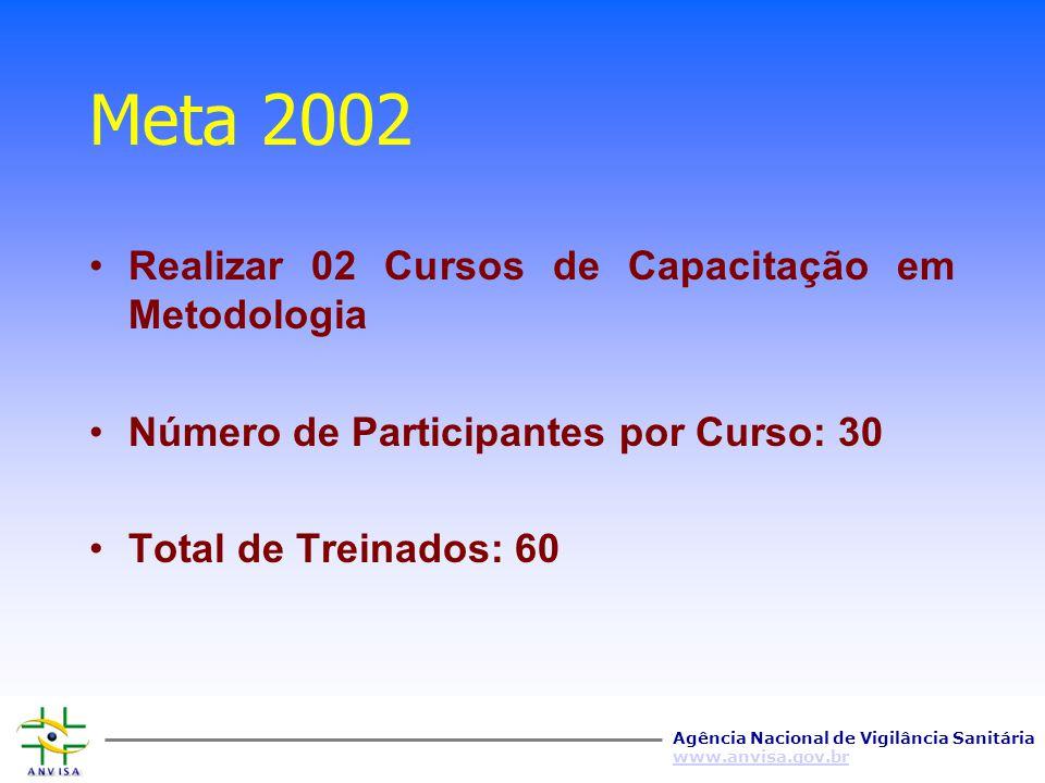 Meta 2002 Realizar 02 Cursos de Capacitação em Metodologia