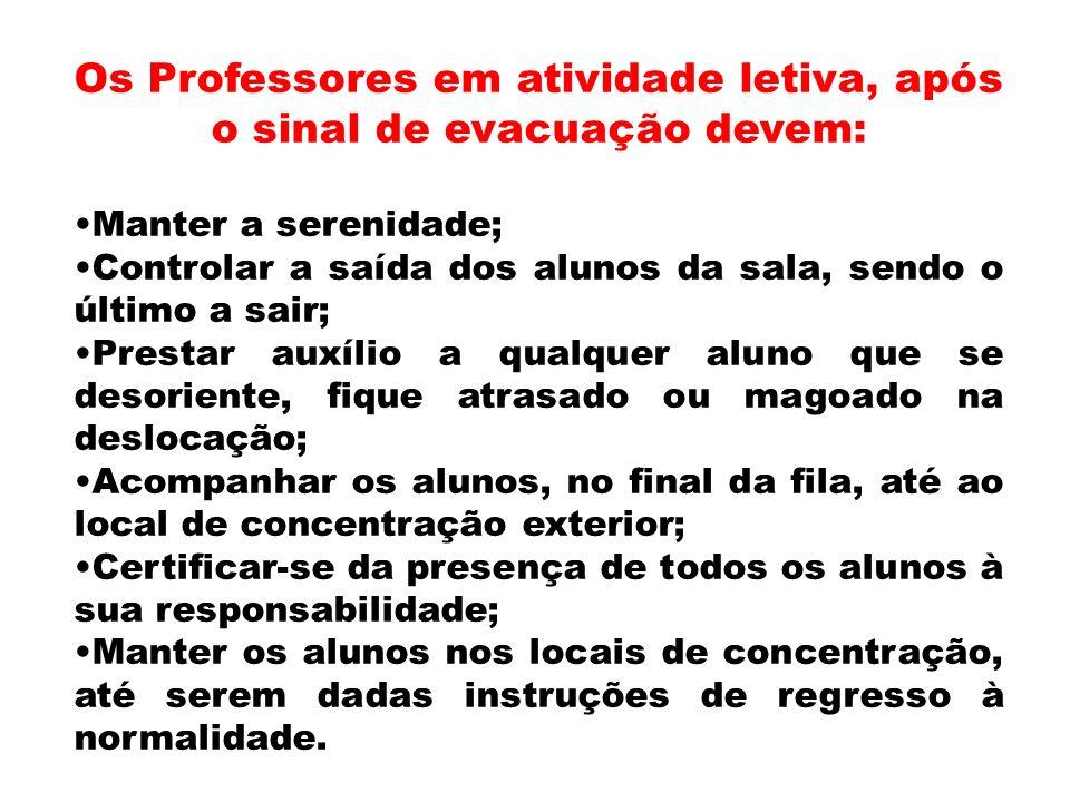Os Professores em atividade letiva, após o sinal de evacuação devem: