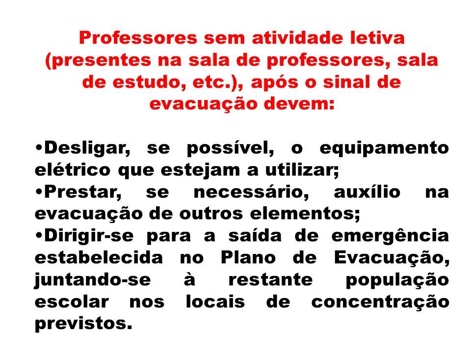 Professores sem atividade letiva (presentes na sala de professores, sala de estudo, etc.), após o sinal de evacuação devem:
