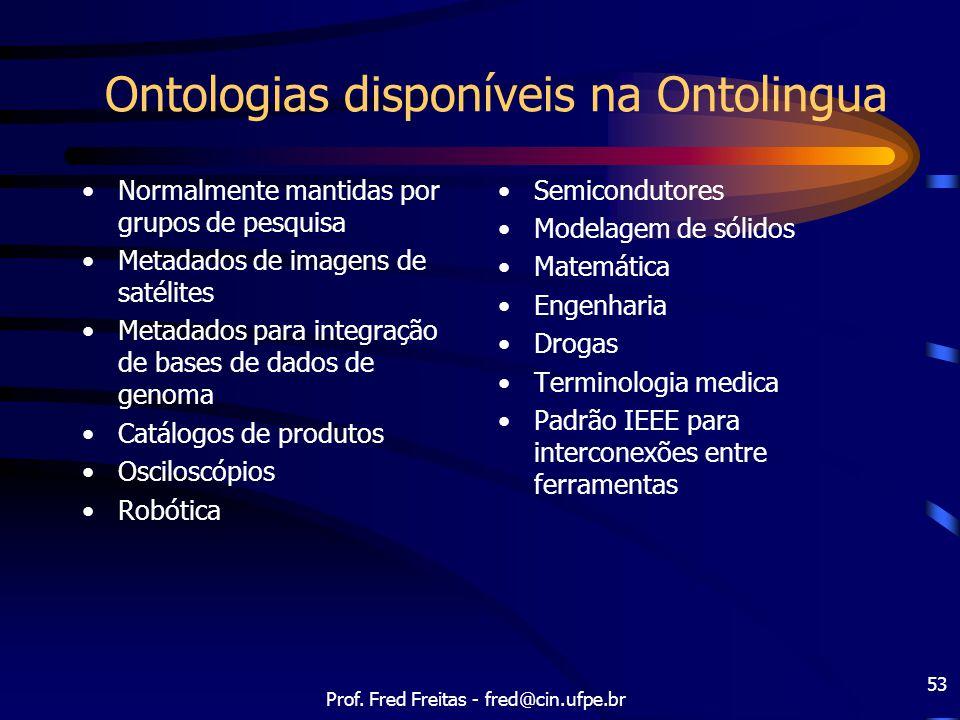 Ontologias disponíveis na Ontolingua