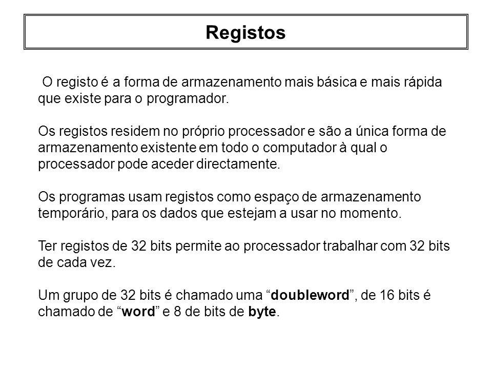 Registos O registo é a forma de armazenamento mais básica e mais rápida que existe para o programador.