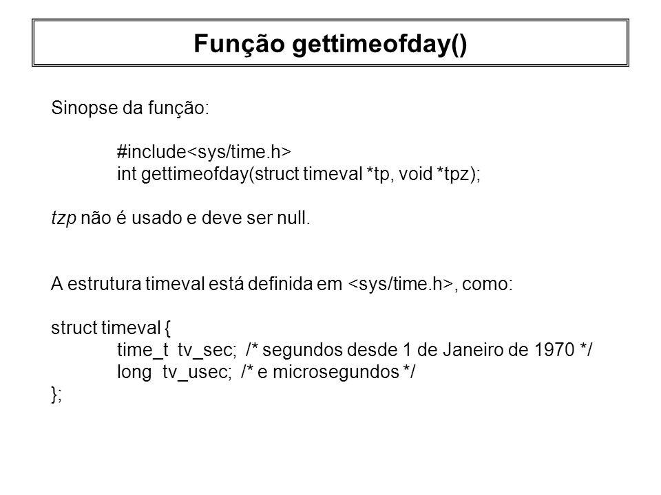 Função gettimeofday()