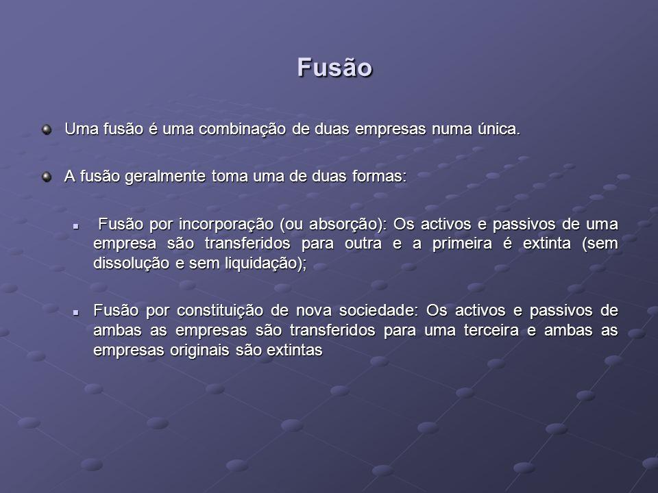 Fusão Uma fusão é uma combinação de duas empresas numa única.