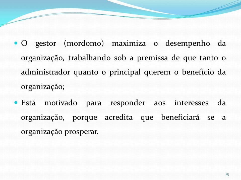 O gestor (mordomo) maximiza o desempenho da organização, trabalhando sob a premissa de que tanto o administrador quanto o principal querem o benefício da organização;