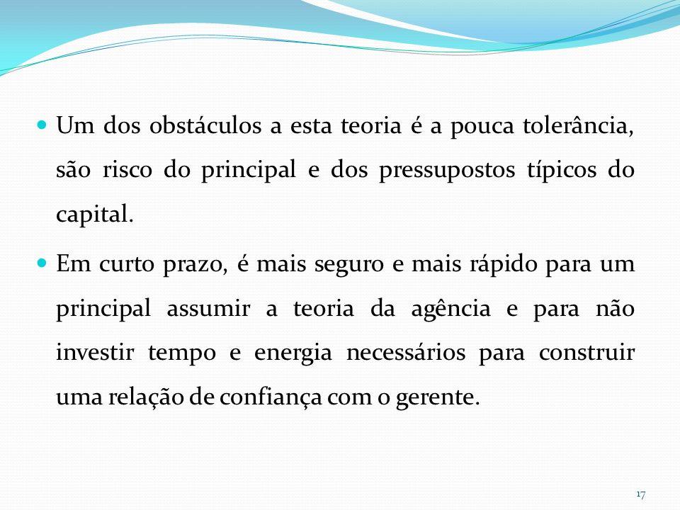 Um dos obstáculos a esta teoria é a pouca tolerância, são risco do principal e dos pressupostos típicos do capital.