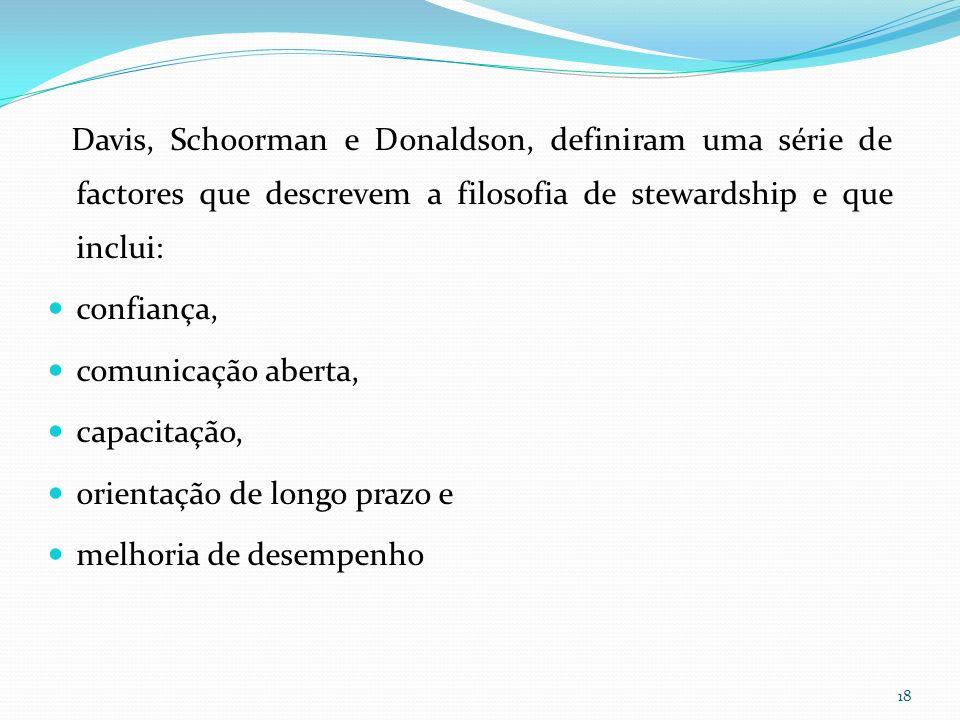 Davis, Schoorman e Donaldson, definiram uma série de factores que descrevem a filosofia de stewardship e que inclui: