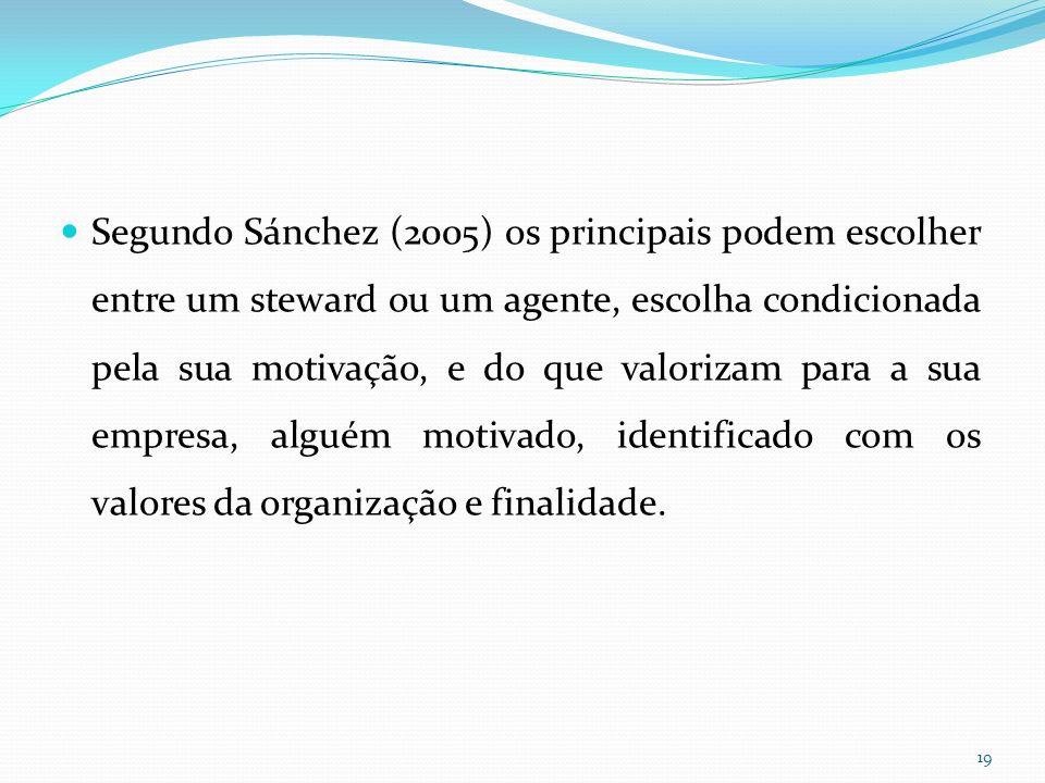 Segundo Sánchez (2005) os principais podem escolher entre um steward ou um agente, escolha condicionada pela sua motivação, e do que valorizam para a sua empresa, alguém motivado, identificado com os valores da organização e finalidade.