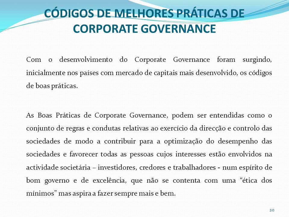 CÓDIGOS DE MELHORES PRÁTICAS DE CORPORATE GOVERNANCE