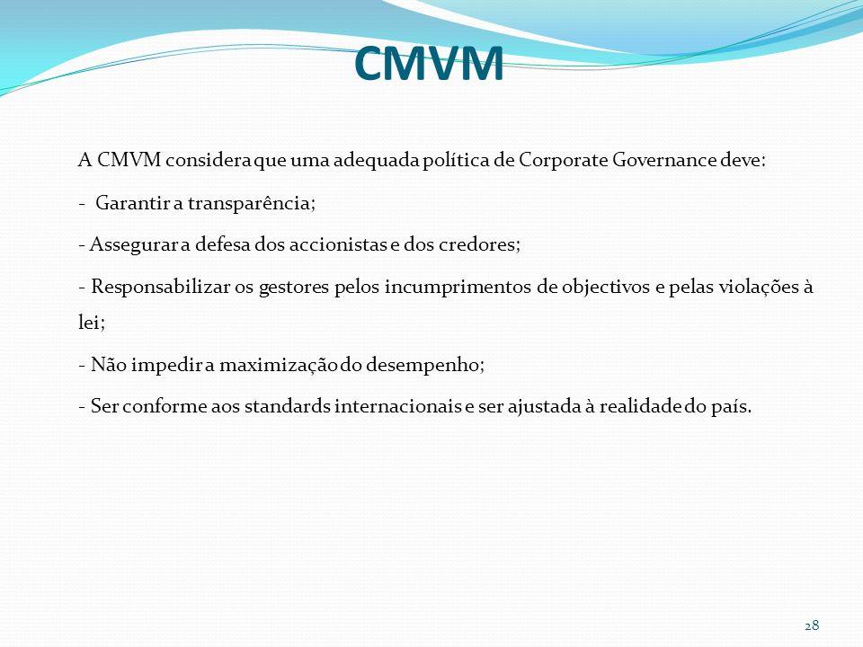 CMVM A CMVM considera que uma adequada política de Corporate Governance deve: - Garantir a transparência;