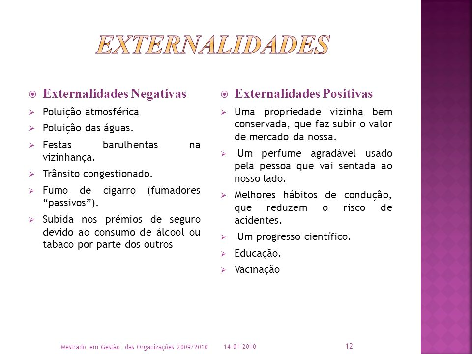 Externalidades Externalidades Negativas Externalidades Positivas