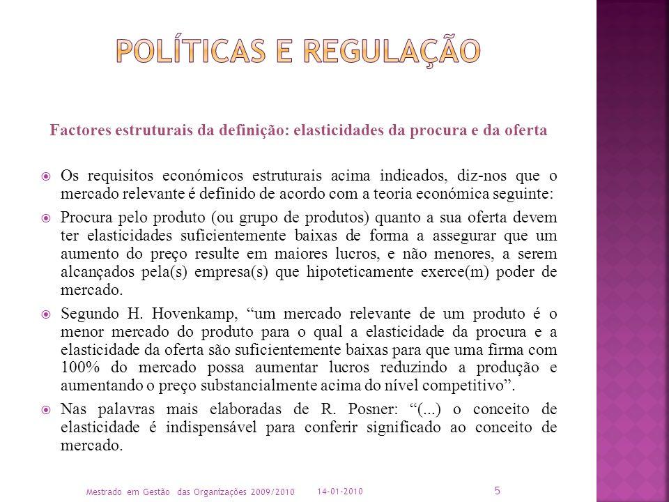 Políticas e Regulação Factores estruturais da definição: elasticidades da procura e da oferta.