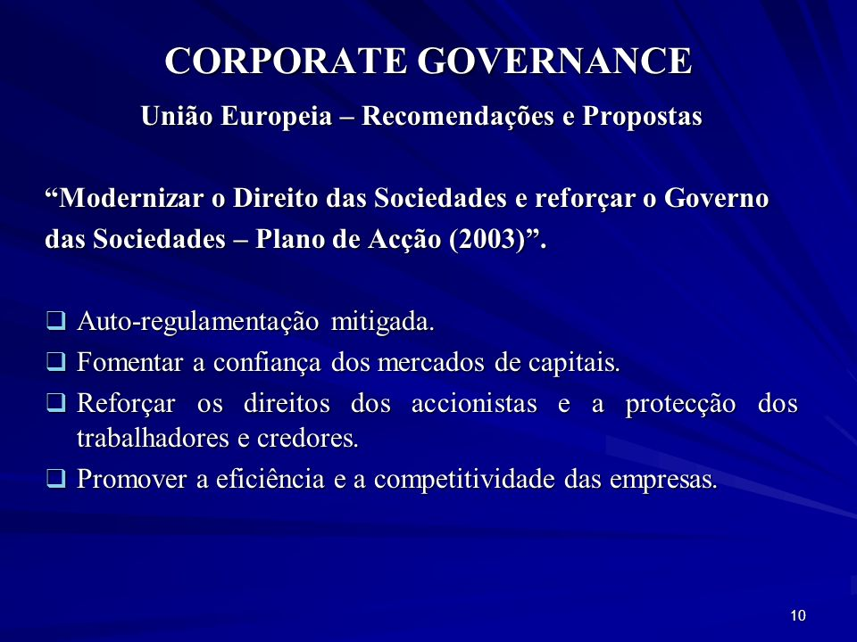 União Europeia – Recomendações e Propostas