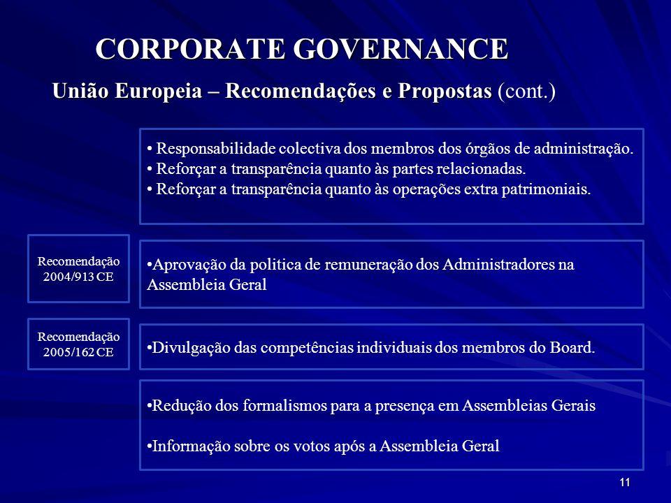 União Europeia – Recomendações e Propostas (cont.)