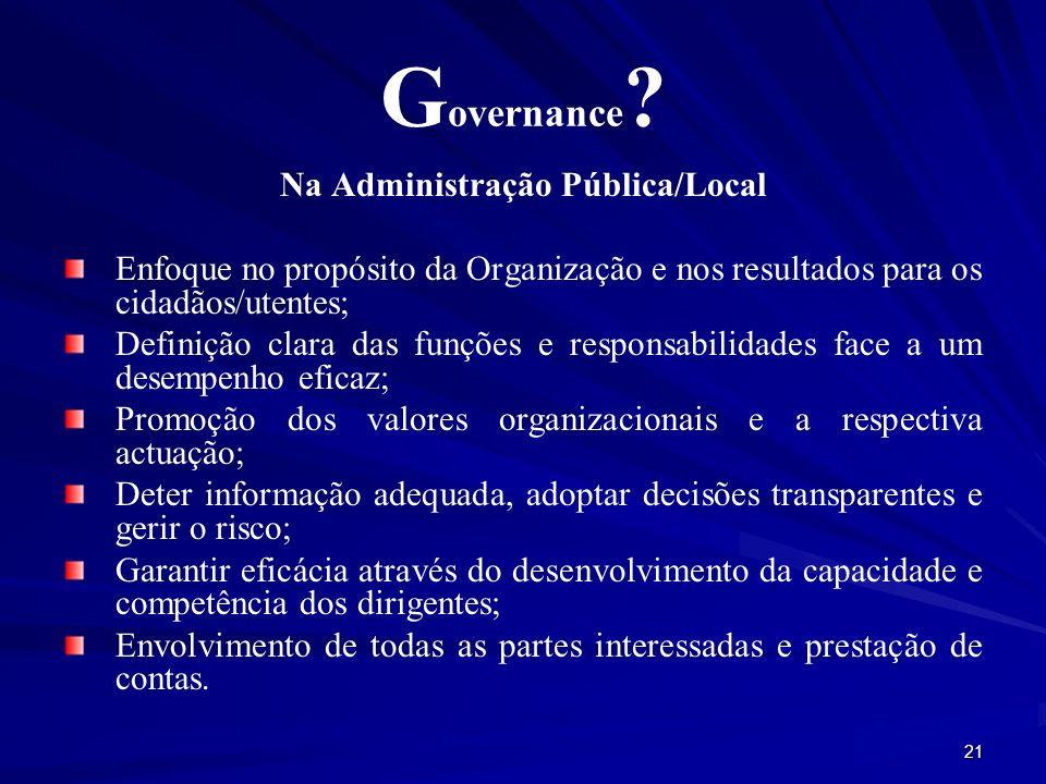 Na Administração Pública/Local