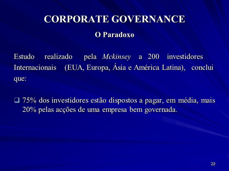CORPORATE GOVERNANCE O Paradoxo