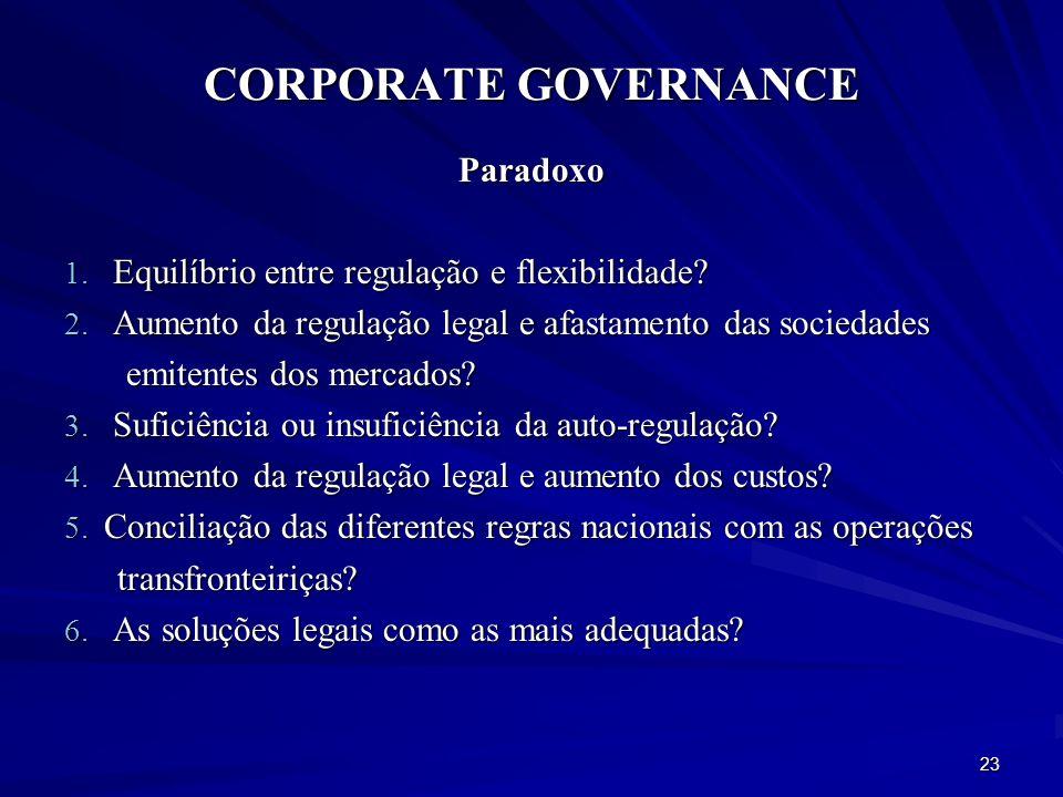CORPORATE GOVERNANCE Paradoxo