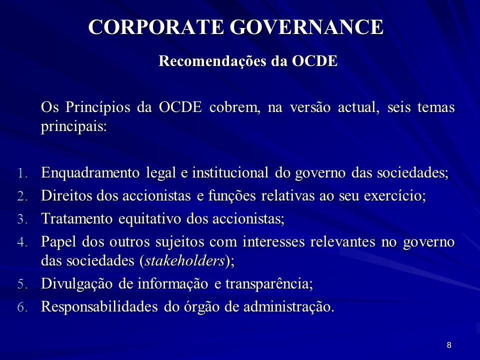 CORPORATE GOVERNANCE Recomendações da OCDE